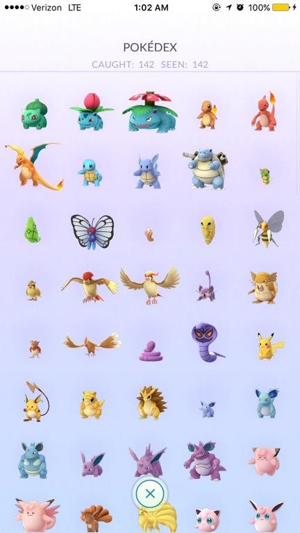 Pokedex - игрока прошедшего игру Pokemon GO