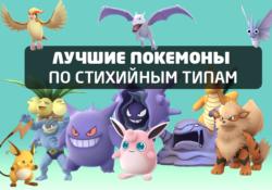 Лучшие покемоны по стихийным типам в игре Покемон ГО
