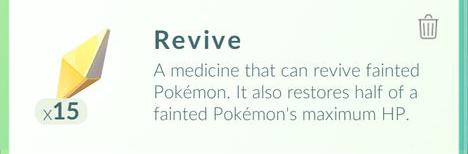 Revive (Воскрешение) в Pokemon GO