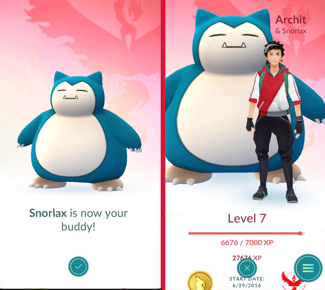 Процесс выбора покемона в функции Buddy в Pokemon GO